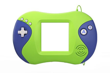 Old Portable Video Game Console on a white background. 3d Rendering Stock Photo
