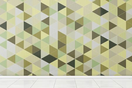 modern bathroom: Bathroom with White Floor and Olive Green Polygon Geometric Tiles Wall extreme closeup. 3d Rendering.