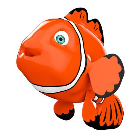 aquarium hobby: Cartoon Red Sea Clownfish on a white background. 3d Rendering.
