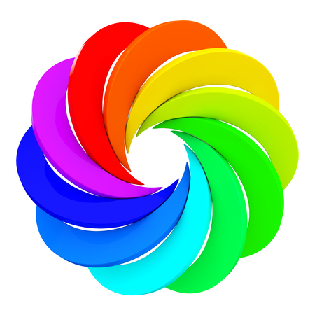 Vortex Color Aperture Wheel on a white background. 3d Rendering