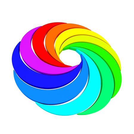 Vortex Color Aperture Wheel sobre un fondo blanco. Representación 3D Foto de archivo - 84008211