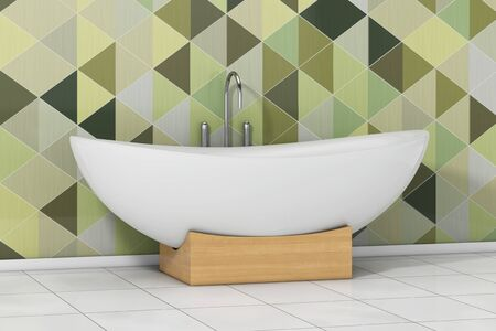 Modern White Bathtube in front of Olive Green Geometric Tiles in Bathroom extreme closeup. 3d Rendering