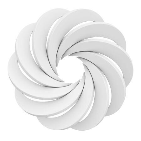 Vortex White Aperture Wheel on a white background. 3d Rendering