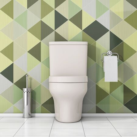 modern bathroom: White Toilet Bowl with Toilet Paper and Metallic Toilet Brush in front of Olive Green Geometric Tiles extreme closeup. 3d Rendering Stock Photo