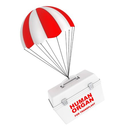 Fridge Box for transporting Human Donor Organs flying on Red and White Parachute on a white background. 3d Rendering.