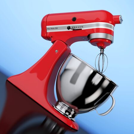 Red Kitchen Stand Food Mixer on a blue background. 3d Rendering