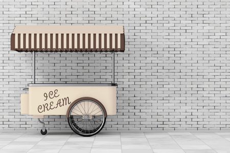 Ice Cream Trolley Cart in front of brick wall. 3d Rendering Stock Photo