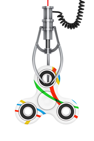 clutch: Fidget Finger Spinner Antistress Toy in a Chrome Robotic Claw on a white background. 3d Rendering. Stock Photo