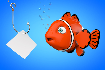 Cartoon Red Sea Clownfish Looking on a Fishhook with Blank Paper on a blue background. 3d Rendering. Stock Photo