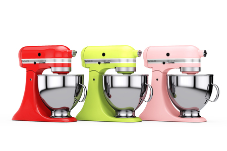 Multicolour Kitchen Stand Food Mixers on a white background. 3d Rendering
