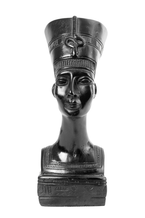 queen nefertiti: Bust of Nefertiti Egyptian Queen on a white background Stock Photo