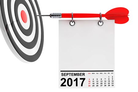 Calendar September 2017 on blank note paper with free space for your text with target. 3d Rendering Stock Photo