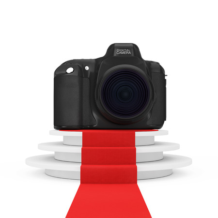 ステップと白地にレッド カーペットのラウンド ホワイト台座上のデジタル写真のカメラ。3 d レンダリング 写真素材