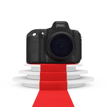 Digitale fotocamera over ronde witte sokkel met stappen en een rode loper op een witte achtergrond. 3D-rendering