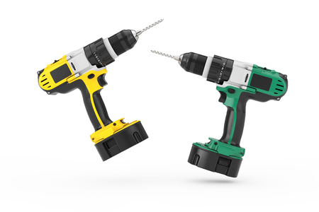 Multicolour Rechargeable and Cordless Drills Set on a white background. 3d Rendering
