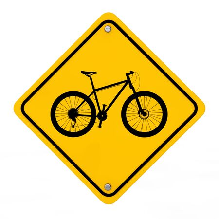 Bicycle Traffic Warning Sign on a white background. 3d Rendering