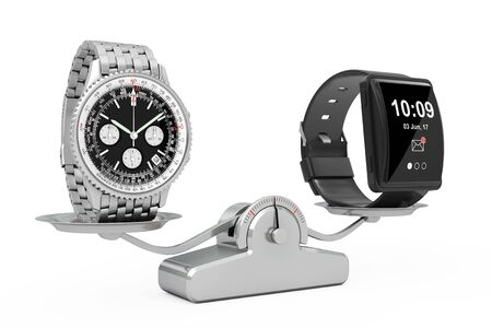 silver screen: Luxury Classic Analog Mens Wrist Silver Watch with Big Conceptual Smart Watch Balancing on a Simple Weighting Scale on a white background. 3d Rendering