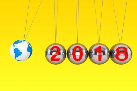 pendulum: New Year concept. Spheres of Newton with Globe Earth and 2018 sign on a yellow background. 3d Rendering
