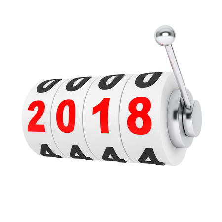 Casino Slot Machine with 2018 New Year Sign on a white background. 3d Rendering