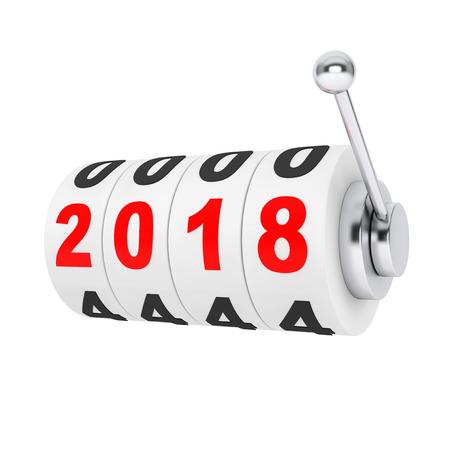 Máquina tragamonedas del casino con la muestra 2018 del Año Nuevo en un fondo blanco. Representación 3D Foto de archivo