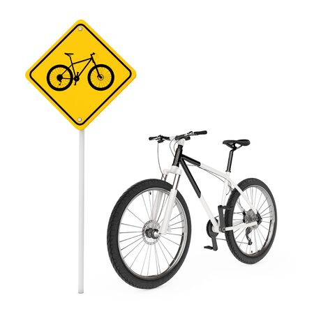 danger ahead: Black and White Mountain Bike near Bicycle Traffic Warning Sign on a white background. 3d Rendering Stock Photo