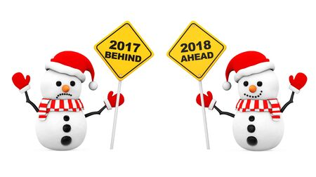 Snowmans with 2018 and 2017 Year Signs on a white background. 3d Rendering