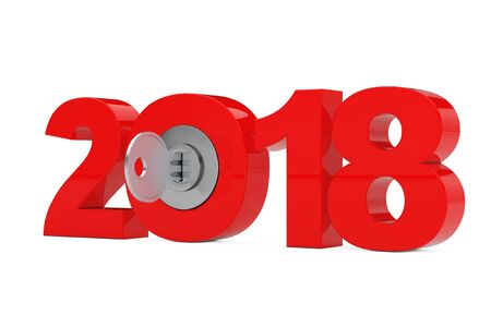 New 2018 Year Sign with Key on a white background. 3d Rendering Stock Photo