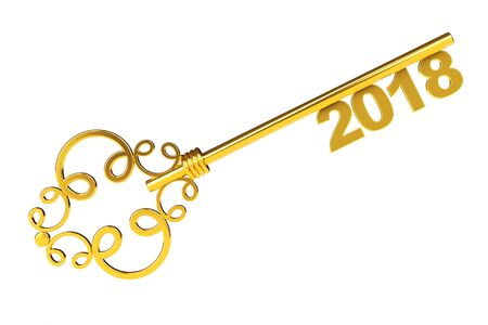 dwelling: Golden Vintage Key with 2018 year Sign on a white background. 3d Rendering