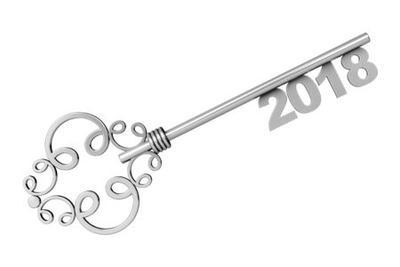 Silver Vintage Key with 2018 year Sign on a white background. 3d Rendering
