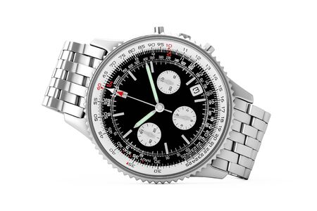 cronógrafo: Luxury Classic Analog Mens Wrist Silver Watch on a white background. 3d Rendering