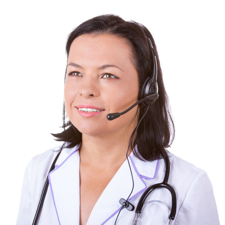 Medical Woman Doctor in Headset with Stethoscope on a white background