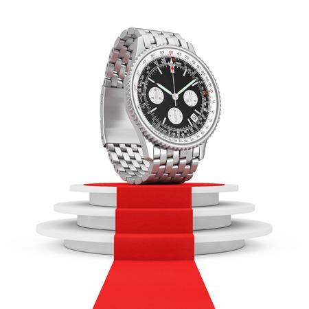 cronógrafo: Reloj de plata de la muñeca de los hombres análogos clásicos de lujo sobre el pedestal redondo blanco con los pasos y una alfombra roja en un fondo blanco. Representación 3D