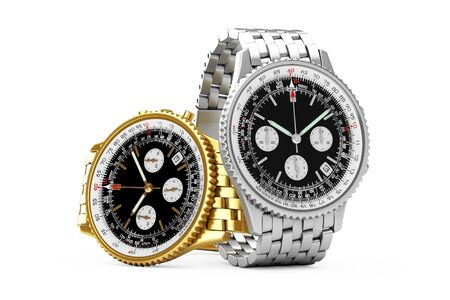 Luxury Classic Analog Mens Wrist Golden and Silver Watches on a white background. 3d Rendering