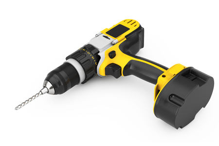Yellow Rechargeable and Cordless Drill on a white background. 3d Rendering