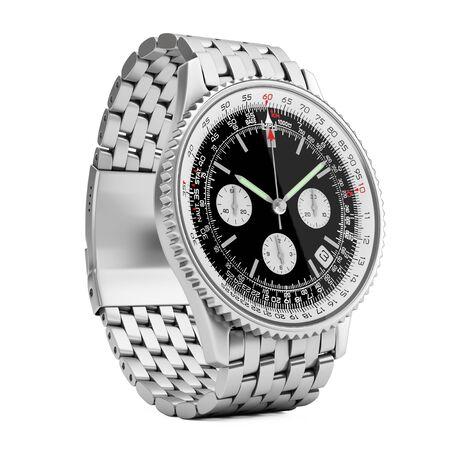 cronógrafo: Reloj clásico de lujo con análogo de plata para hombres sobre un fondo blanco. Representación 3D