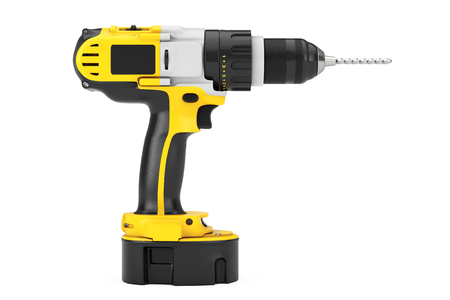 install: Yellow Rechargeable and Cordless Drill on a white background. 3d Rendering