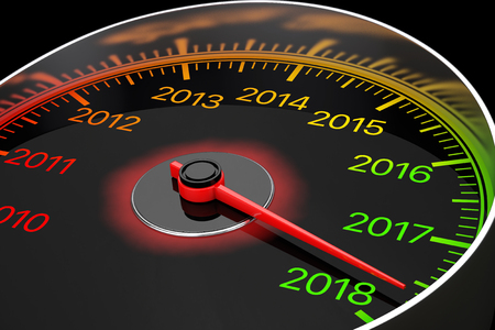 Conceptual 2018 New Year Speedometer on a black background. 3d Rendering