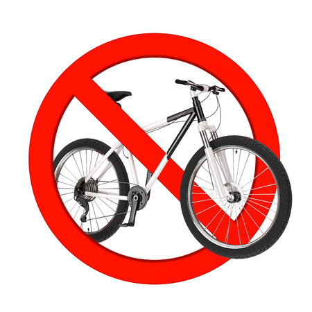 illegal zone: Black and White Mountain Bike in Prohibition Red Circle on a white background. 3d Rendering