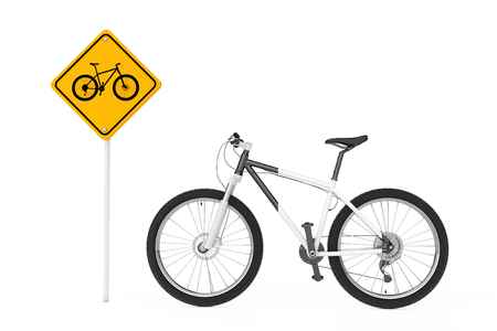 Black and White Mountain Bike near Bicycle Traffic Warning Sign on a white background. 3d Rendering Stock Photo