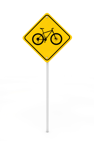 danger ahead: Bicycle Traffic Warning Sign on a white background. 3d Rendering