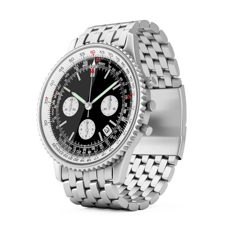Luxury Classic Analog Mens Wrist Silver Watch on a white background. 3d Rendering