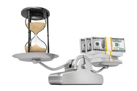 Sand Hourglass with Money Balancing on a Simple Weighting Scale on a white background. 3d Rendering. Stock Photo