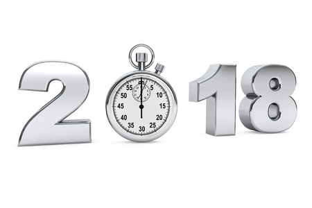 New year 2018 concept. 2018 steel sign with stopwatch on a white background. 3d Rendering