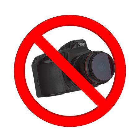 No Photography Allowed Concept. Digital Photo Camera with Prohibition Symbol on a white background. 3d Rendering