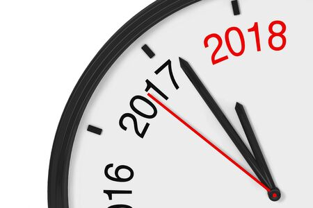 L'année 2018 approche. 2018 Signe avec une horloge sur un fond blanc. Rendu 3D Banque d'images - 84934187