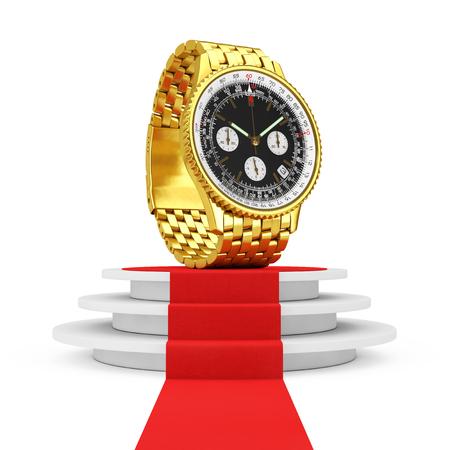 cronógrafo: Reloj clásico dorado de lujo con análogo para hombres sobre pedestal blanco redondo con escalones y una alfombra roja sobre fondo blanco. Representación 3D