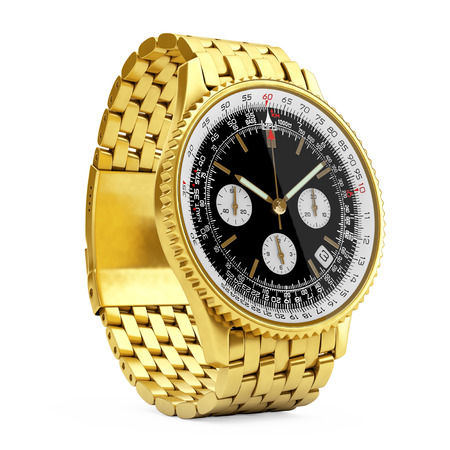 Luxury Classic Analog Mens Wrist Golden Watch on a white background. 3d Rendering