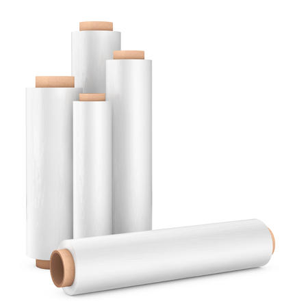 Rolls of White Wrapping Plastic Transparent Packaging Stretch Film on a white background. 3d Rendering