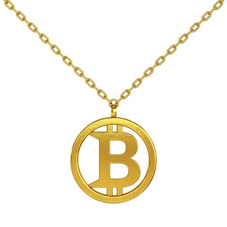 coulomb: Bitcoin Symbol as Golden Coulomb with Chain on a white background. 3d Rendering