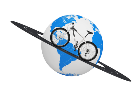 Black and White Mountain Bike over Road Around Earth Globe on a white background. 3d Rendering